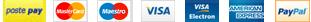 MasterCard, Maestro, VISA, VISA Electron, AMEX, PayPal